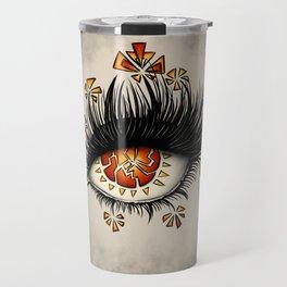 Weird Eye Of Fractured Lava | Digital Art Travel Mug