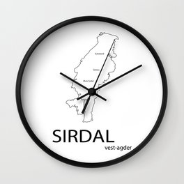 map of sirdal Wall Clock