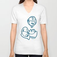mega man V-neck T-shirts featuring Mega Man by La Manette