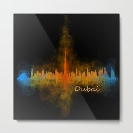 Dubai, emirates, City Cityscape Skyline watercolor art v4 Metal Print