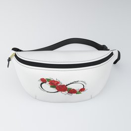 Infinity Symbol with Red Roses Fanny Pack
