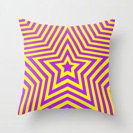 Stars - purple-yellow vers. Throw Pillow