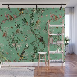 Monkey World Green Wall Mural