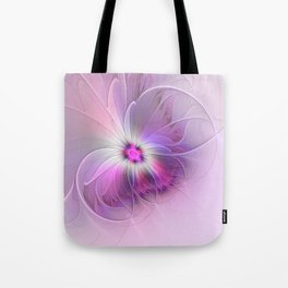 Abstract Flower With Pink And Purple Fractal Tote Bag