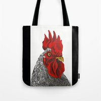 cock Tote Bags featuring cock by bmkoc