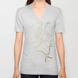 Bangkok Thailand Minimal Street Map - Gold Metallic and White II Unisex V-Neck