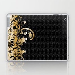 Abstract floral ornament in black and gold colors Laptop & iPad Skin