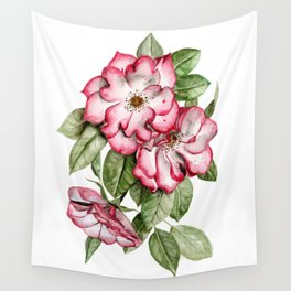 Blooming Pink Garden Roses Wall Tapestry