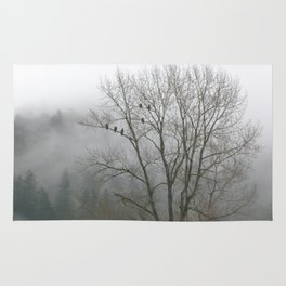 Bald Eagles in Tree in Misty Valley Rug