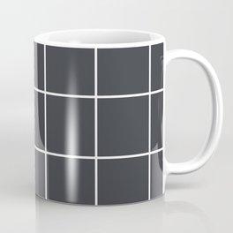 Minimal grid pattern on dark lava Coffee Mug