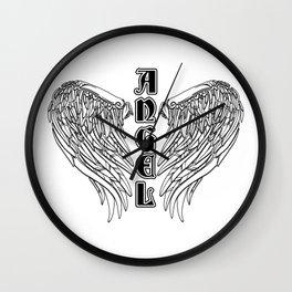Black Gothic Angel Wings Wall Clock