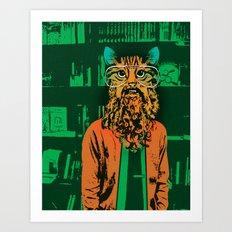 Cool Cat Librarian Art Print