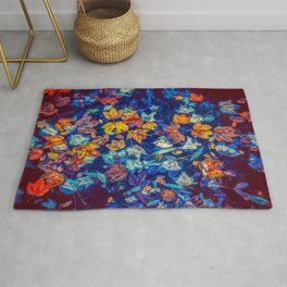 Blue Fall Leaves Autumn Nature Photography Art Rug