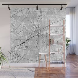 Fort Worth White Map Wall Mural