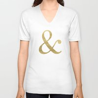 gold glitter V-neck T-shirts featuring Gold Glitter Ampersand by Tamsin Lucie