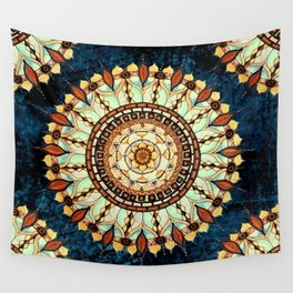 Sketched Mandala Design On A Blue Textured Background Wall Tapestry