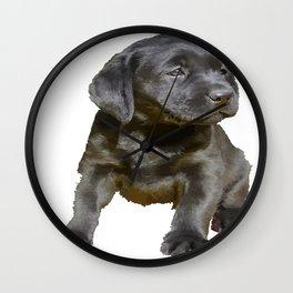 Adorable and Cute Black Labrador Puppy Vector Wall Clock