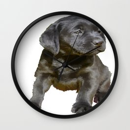 Adorable and Cute Black Labrador Puppy Vector Wall Clock