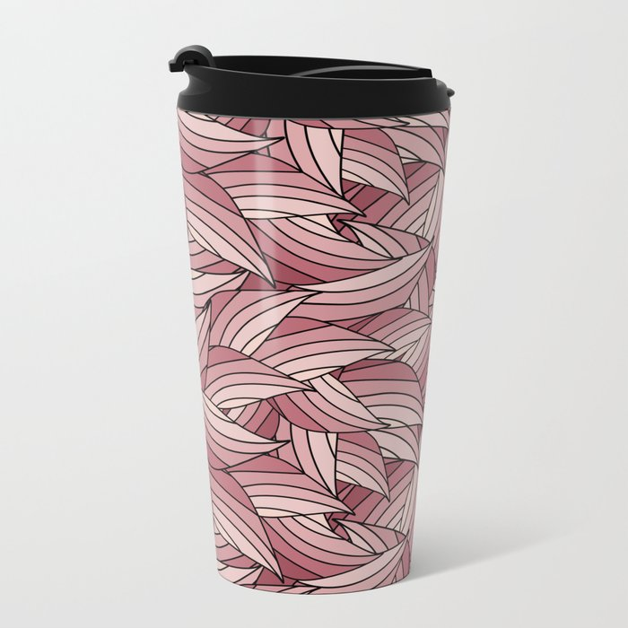 PALE DOGWOOD LEAVES B (abstract flowers nature) Metal Travel Mug