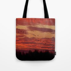 Flight of cranes in the south Tote Bag