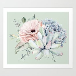Delightful Mint + Pink Succulents Art Print