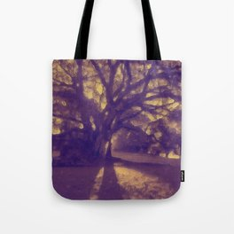Golden Glow Tree Silhouette at Sunset Tote Bag