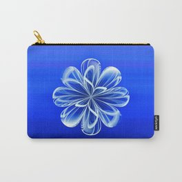 White Bloom on Blue Carry-All Pouch