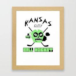 Kansas City Ball Hockey Thrashed Skull [Green] Framed Art Print