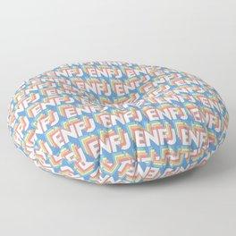 ENFJ Trendy Rainbow Text Pattern (Blue) Floor Pillow