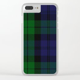 chainsaw blue & green - holiday and everyday black blue tartan black watch plaid check Clear iPhone Case