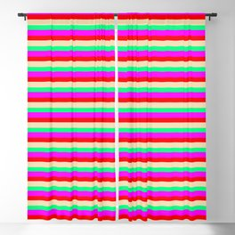 Eyecatching Red, Tan, Green, and Magenta Lined Pattern Blackout Curtain