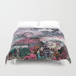 Journeying Spirit (deer) sunset Duvet Cover