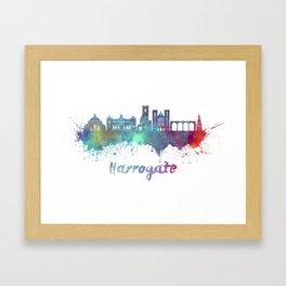 Harrogate skyline in watercolor splatters Framed Art Print