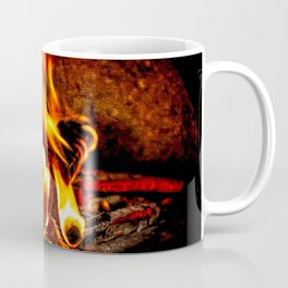 Firewood Burns In A Vintage Stove Coffee Mug