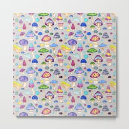 Watercolor Mushroom Pattern on Gray Metal Print