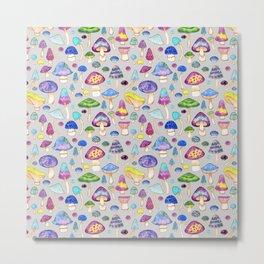 Watercolor Mushroom Pattern on Gray Metal Print