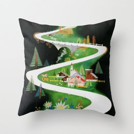 Switzerland - Vintage French Travel Poster Throw Pillow