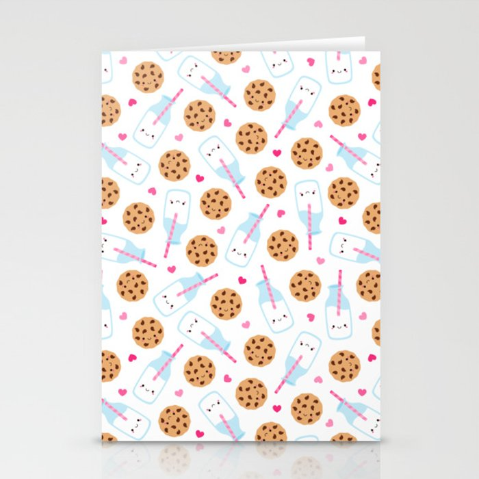 Happy Milk and Cookies Pattern Stationery Cards