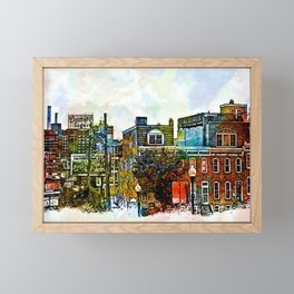 Domino Sugars Neighborhood, Locust Point, Baltimore, Maryland  Framed Mini Art Print
