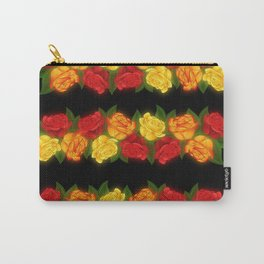 Red Rose Border On Black Carry-All Pouch
