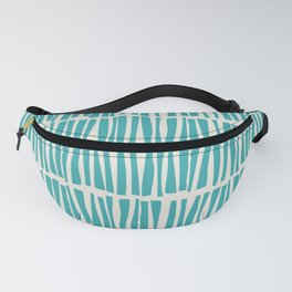 Aqua Teal Turquoise Solid Color Vertical Dash Stripe Line Pattern on Alabaster White - Aquarium SW 6767 Fanny Pack