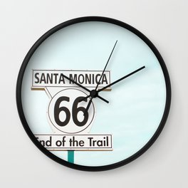 Travel photography Santa Monica XV 66 End of the Trail Wall Clock