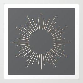 Simply Sunburst in White Gold Sands on Storm Gray Art Print