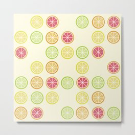 Fun Yellow Citrus Slice Pattern Metal Print