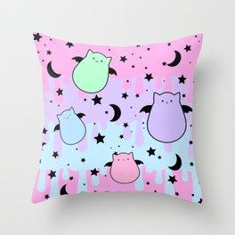 Cat Bat Attack Throw Pillow