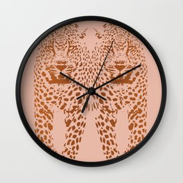 Sunset Blvd Leopard - blush pink and coral original print by Kristen Baker Wall Clock