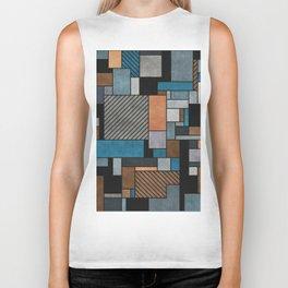 Random Concrete Pattern - Blue, Grey, Brown Biker Tank