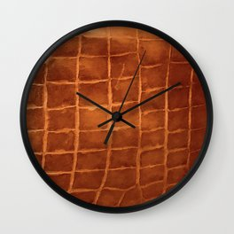 Tobacco-Brown Vintage Leather Textured Pattern Wall Clock