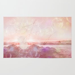 Joy at the sea bubbles sunst ocean typography art Rug