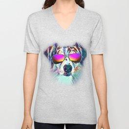 Australian Shepherd Colorful Neon Dog Sunglasses Unisex V-Neck